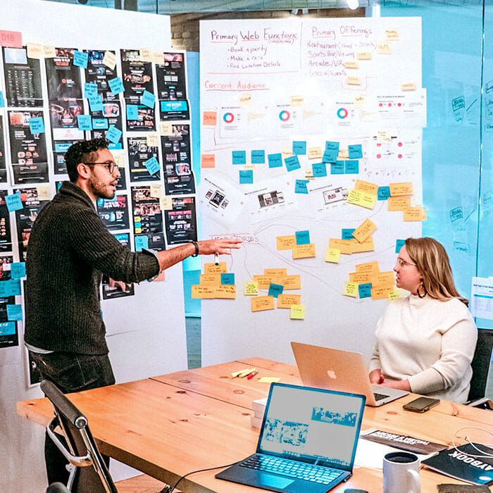 Team white-boarding marketing strategy and creative campaigns